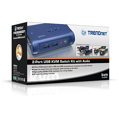 TRENDnet 2 ports USB KVM switch w/cables